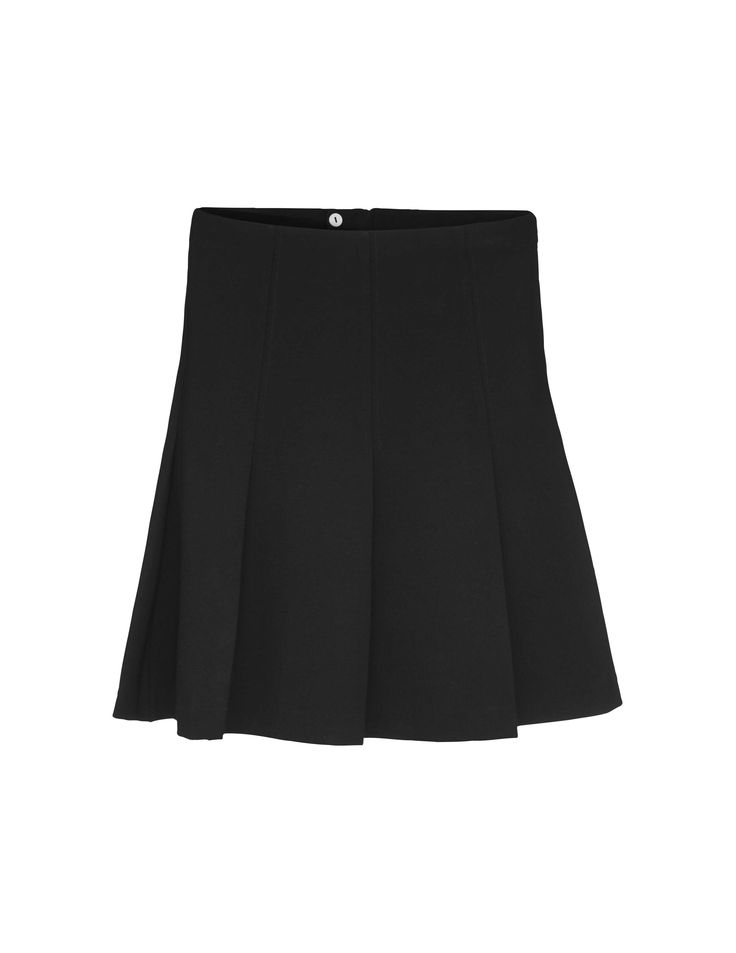 Drem skirt - Women's black circle skirt in viscose-blend. Features concealed side zip closure. Darts from waistline to hip for slim fit at upper part. Open pleats below darts. Regular waist. Mid-thigh length.