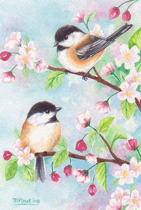 Original watercolor painting bird chickadee cherry blossom flower spring 6 x 4 inches CaaT