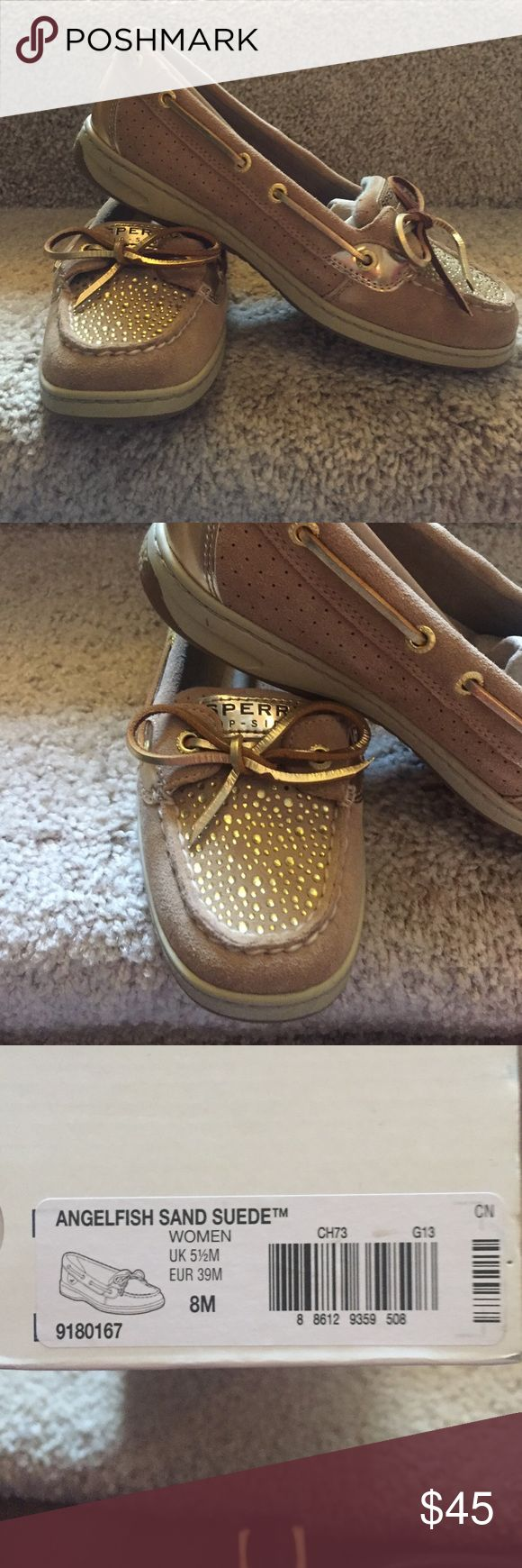Women's sperry angelfish gold and tan topsiders, 8 Women's sperry topsiders gold and tan angelfish size 8M. NWT, never worn, bought from Nordstrom, excellent condition!!! Sperry Top-Sider Shoes Flats & Loafers