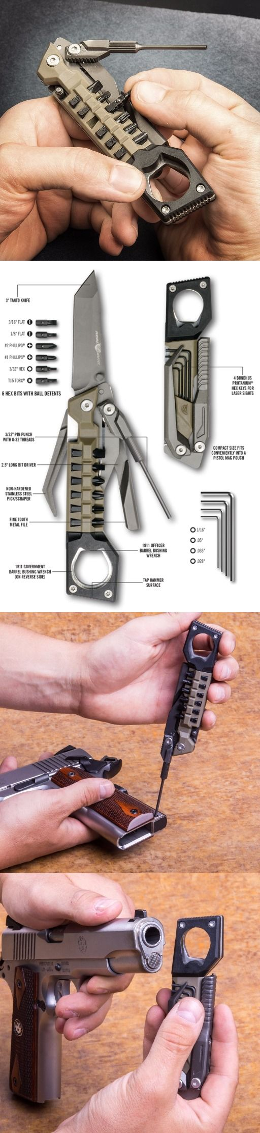 Real Avid The Pistol Tool. The Number of Tasks the Hand Gun Pistol Tool Can Handle is Astounding: Mounting Accessories, Field Disassembly, Adjusting Laser Sights, and Changing Grips are Only a Few Things This Tool Can Do.