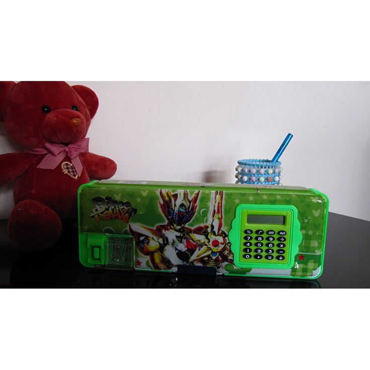 Cute cartoon student supplies Multifunction Two-sided pencil boxes pencil case with electric calculator big size Transformers