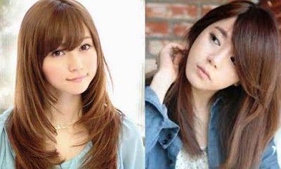 model rambut lurus wanita korea