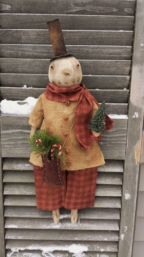 Primitive Folky Snowman Doll with Christmas Tree   eBay
