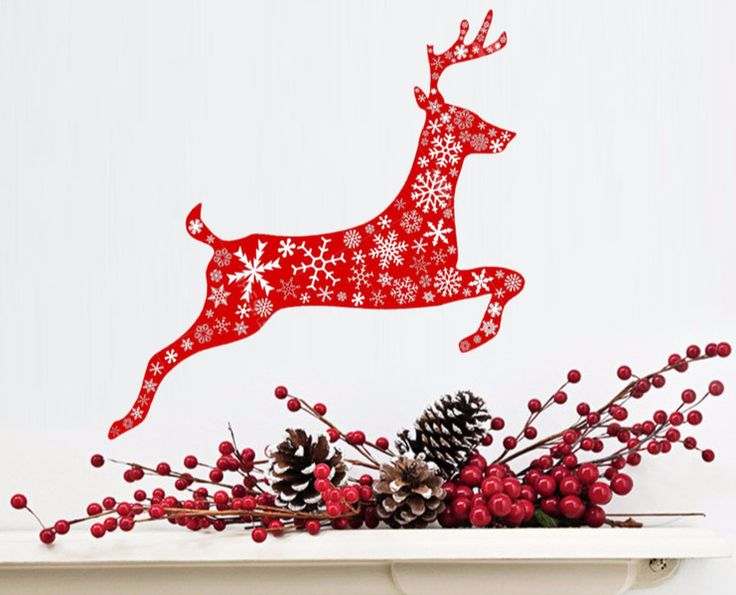 Lovely Christmas deer decal    The sticker is 50 cm / 20 inches long   Made from adhesive top quality vinyl. Removable. Does not any damage to the surface. Machine cut. Can be applied easily...
