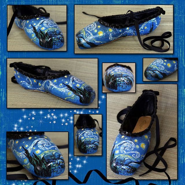 Decorated pointe shoes starry night point shoe for Ballet shoes decoration