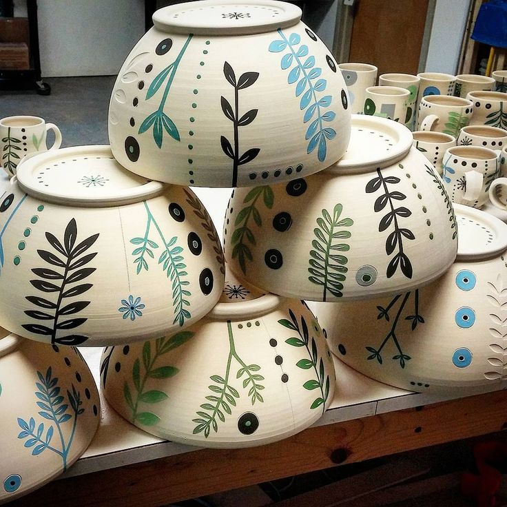 """Piles of bisqueware all washed up and headed for a glazy weekend at the studio #glazetime #bisqueware #ceramicprocess #bigbowls #plantlove #baysideclay…"""