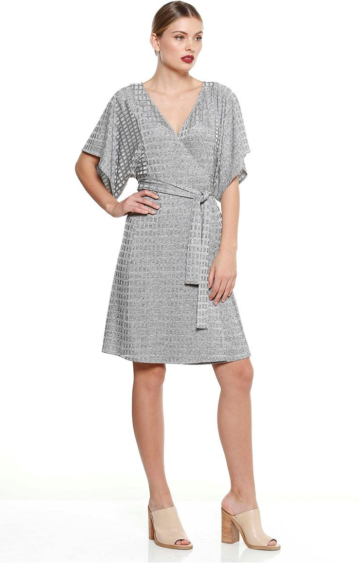 PIAZZA KNEE LENGTH JERSEY WRAP KIMONO DRESS IN SILVER MARLE