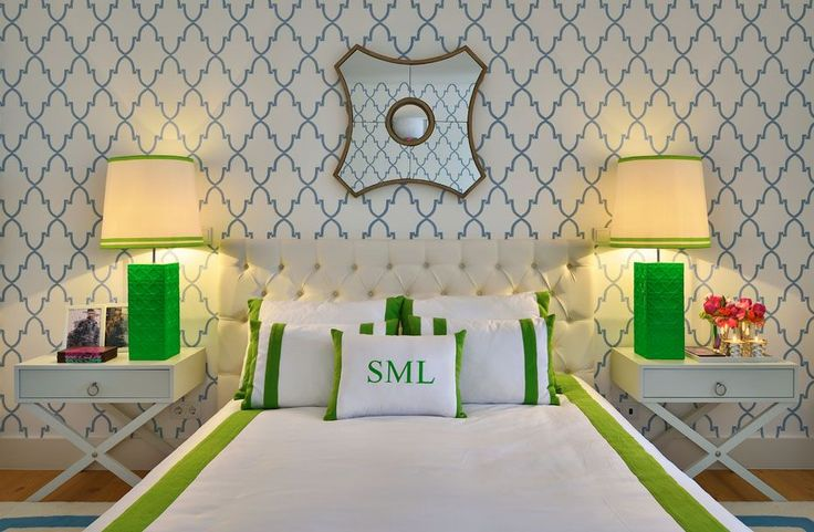 green + white bedroom + monogram + cute wallpaper, lamps and side tables