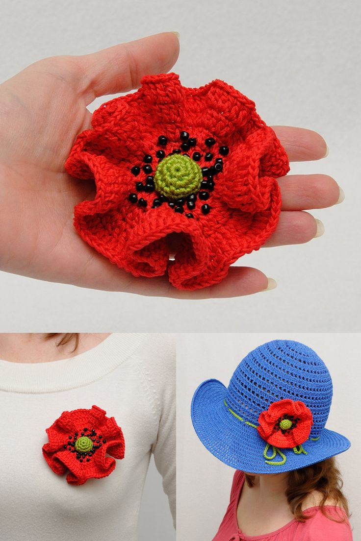 Poppy pin Crochet poppy brooch pins mother gift for mother red poppy Beaded poppy Womens Accessories gift for women Mothers day gift for her (10.00 USD) by MeetBestKnit