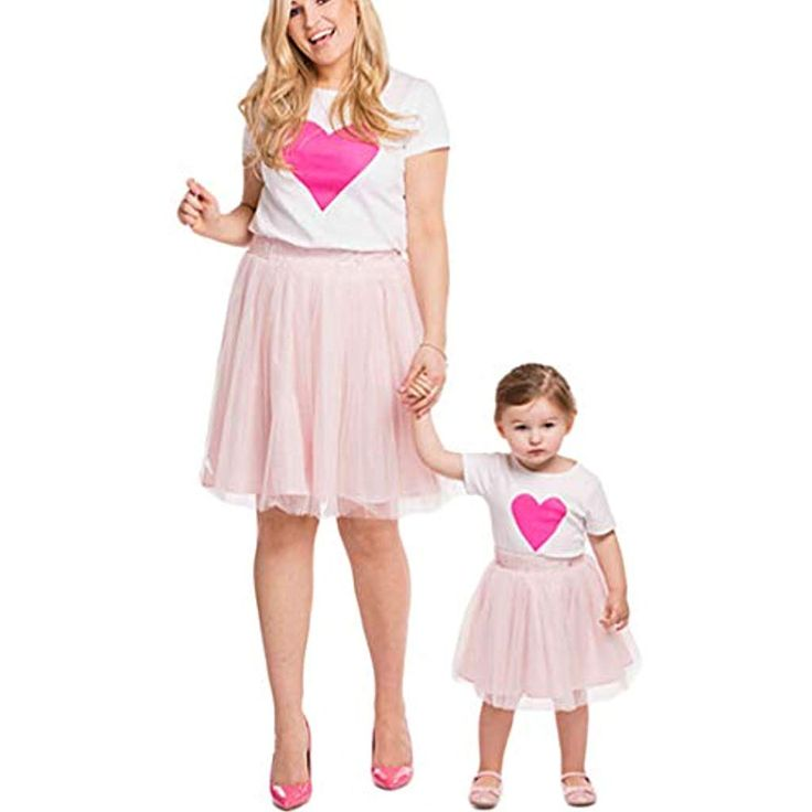 Mutter und Tochter Matching Outfits T-Shirt mit Rosa Rock Prinzessin Kleid für …