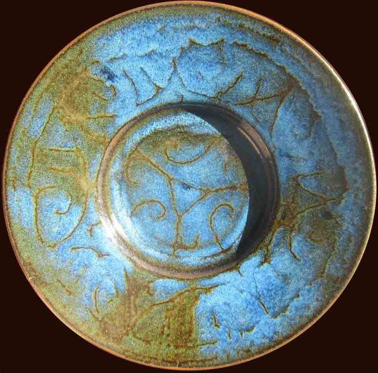 Blue dimensions. Wax resist cobalt over slip glaze, butter dish