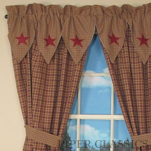Primitive Curtains On Clearance | Country Drapes and Panel Curtains | Vintage Star Wine Panels- 84 ...