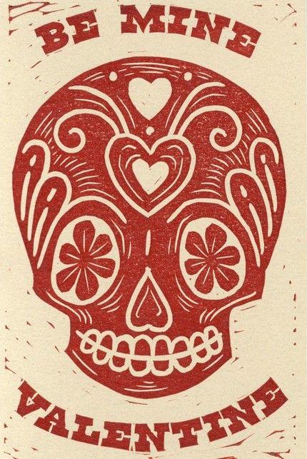 Five Linocut Skull Valentine Prints  #lineapelle #springdylan2013