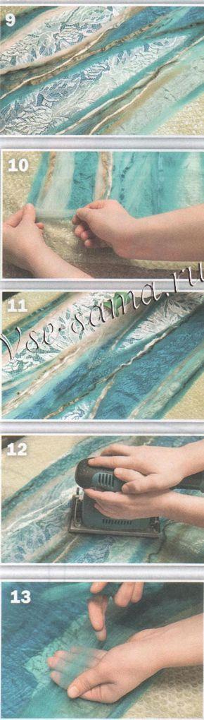 Описание валяния шарфа с кружевом, рис. 9-13