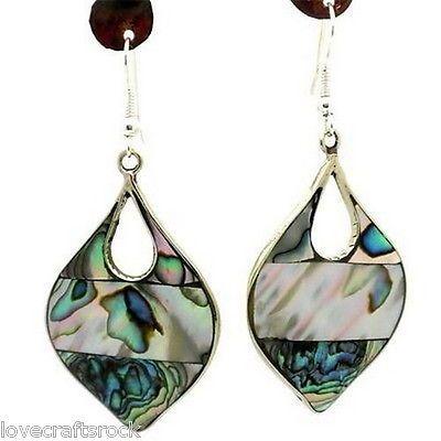 Handmade-Earrings-Dangle-Alpaca-Silver-Mother-Of-Pearl-Abalone-Teardrop-Mexican