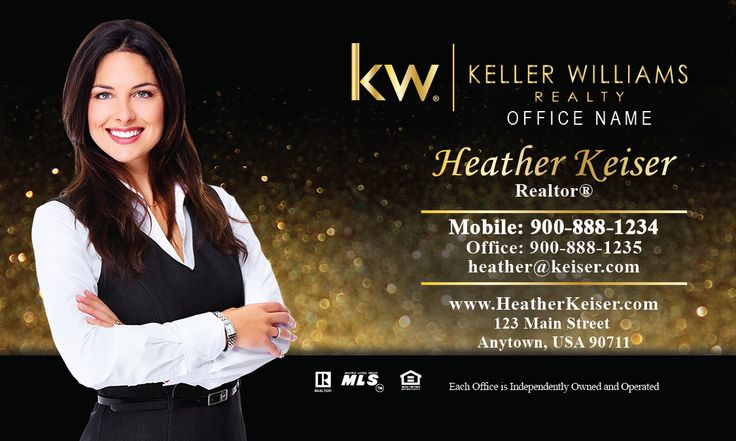 Gold Subtle Glitter Bokeh Keller Williams Business Card from www.printifycards.com #printifycards