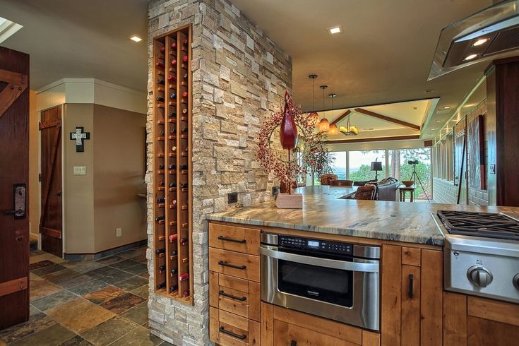 Rustic Kitchen with Skylight, Breakfast bar, Flush, Kitchen peninsula, slate tile floors, Sharp Microwave Drawer, One-wall