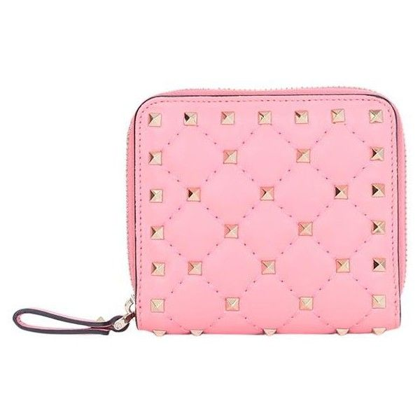 Valentino Garavani Rockstud Spike leather wallet (£390) ❤ liked on Polyvore featuring bags, wallets, rosa, pink leather wallet, valentino wallet, pink bag, zipper wallet and leather bags