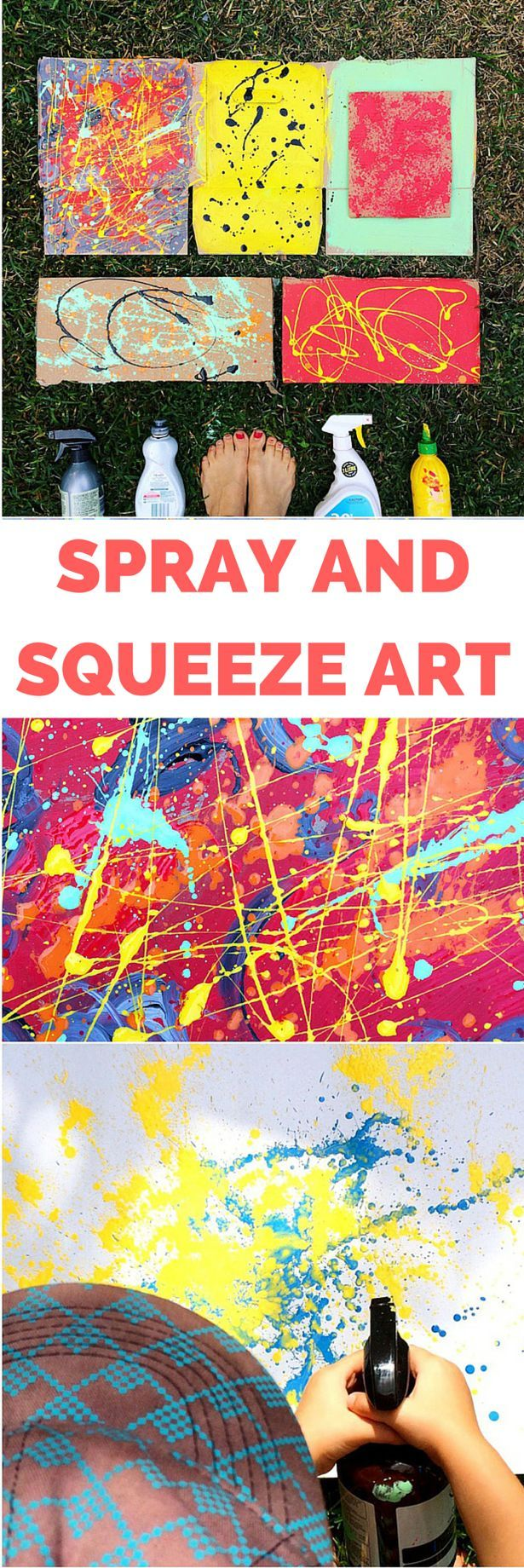 Recycled Spray and Squeeze Art Painting with Kids. Create amazing abstract art…
