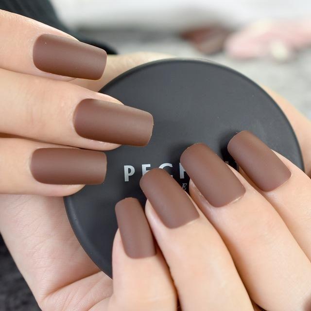 24pcs Pure Candy Color Matte Nails Kit Chocolate Brown