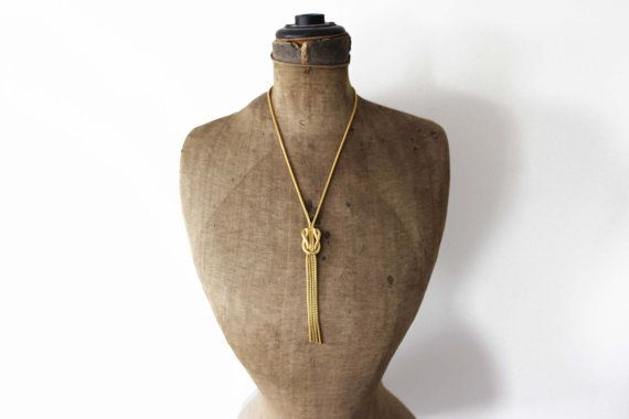 Gold Knot Necklace  Gold Knot Lariat Necklace  by MeadowsVintage