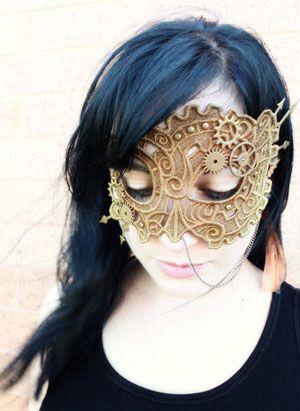 DIY Steampunk Mask @Offbeat Bride: Steampunk Lace, Steampunk Masks, Faces Masks, Lace Masks, Embroidery Design, Steam Punk, Masquerades Masks, Urban Thread, Halloween Masks