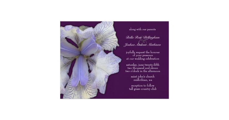 Beautiful blue iris on a burgandy background. This invitation is perfect for any couple to invite guests to their wedding. Other matching products...