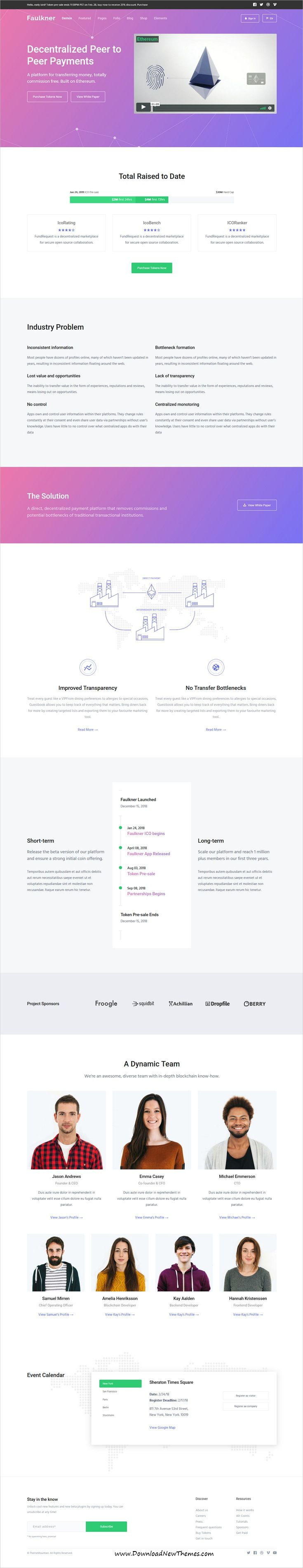 Faulkner is clean and modern design 7+ responsive bootstrap HTML5 #template for initial #coin #offering SaaS and webapp #website to live preview & download click on image or Visit 👆