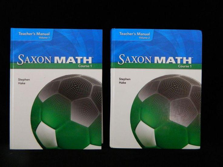 Saxon Math Course 1 Teacher Edition, Vol 1 & 2, VG,  Homeschool or School  #Textbook