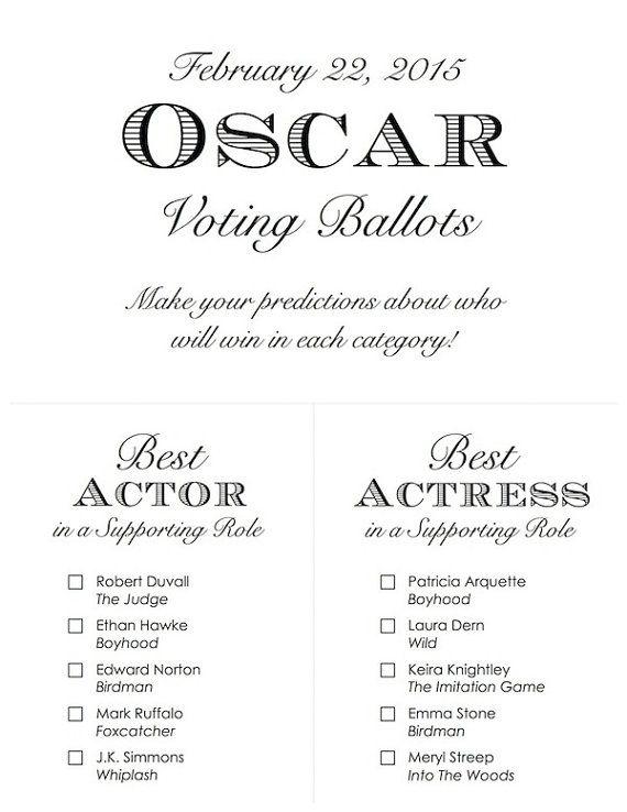 Printable 2015 Oscar Voting Ballots by RittenhouseTrades