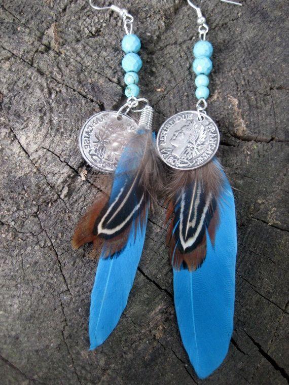 Ohrringe  Federn lange Ohrhänger mit Federn von HeikeFrankStudio