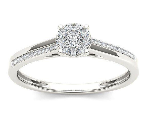 10Kt White Gold Genuine Natural Diamond Engagement 0.15 Ct