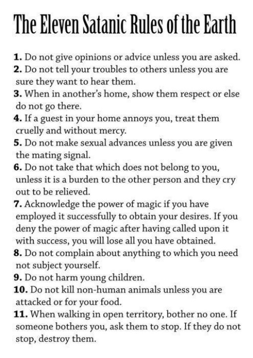 the satanic rules of the earth satanism laveyan crowley  the 11 satanic rules of the earth satanism laveyan crowley