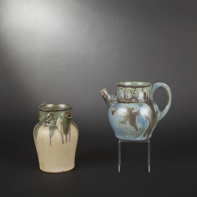 Denbac. Two enameled sandstone pitchers #expertissim
