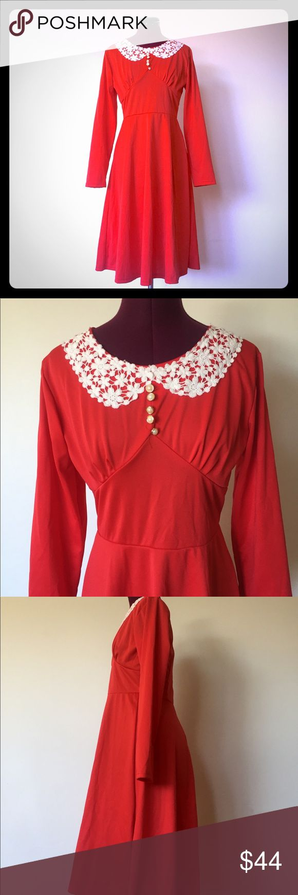 "Vintage 70s Red Dress Whit Lace Mid Length 8 M L 70's bright red dress with a cotton white lace faux Peter Pan collar and pearl button details. It has a wide paneled empire waistline and wide skirt. It zips up the back with a nylon zipper.     Material: polyester, cotton lace  Color/print: Red  Maker: Unmarked   Era: 70's  Size: M or L    Measurements: Sleeve-23"" Bust-38"" - 40""  Waist-30"" to 36"" Hips: 50""  Length-40""    Condition: very good Vintage Dresses Midi"