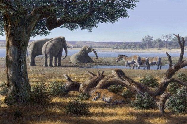 Reconstrucción del paísaje de Orce. Hace 1,4 millones de años Orce albergaba un oasis con un inmenso lago de aguas termales en el que los primeros humanos de Europa Occidental sobrevivieron entre hipopótamos gigantes y tigres dientes de sable