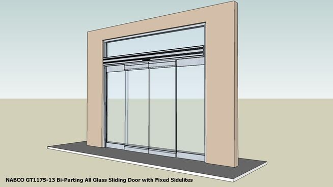 Large preview of 3D Model of 02 NABCO GT1175-13 Bi-Parting All Glass Sliding Door with Fixed Sidelites