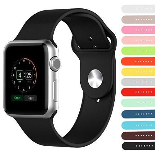 StrapsCo Premium Rubber Strap for Apple Sport Watch Band 38mm & 42mm - Choice of Length & Color