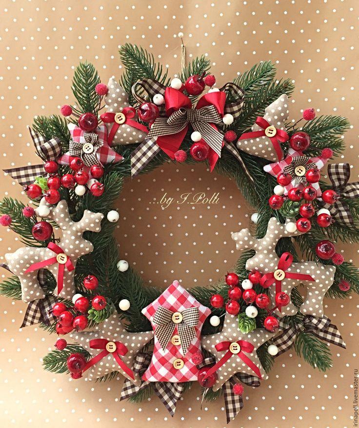 Купить Венок рождественский Прянично-ягодный Новогодний интерьер - рождество, Новый Год, рождественский венок