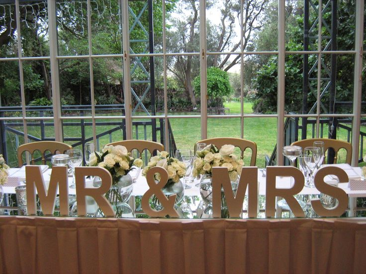 Bridal table - Mr & Mrs with our beautiful garden back drop