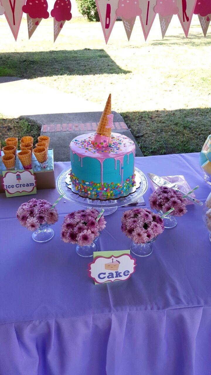 Ice Cream Cone Cake Milk Shake Flowers Pastel Colors Birthday
