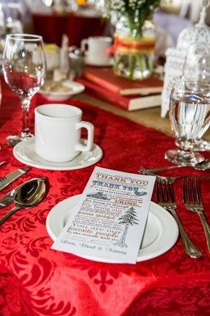 Red damask with burlap rustic wedding!