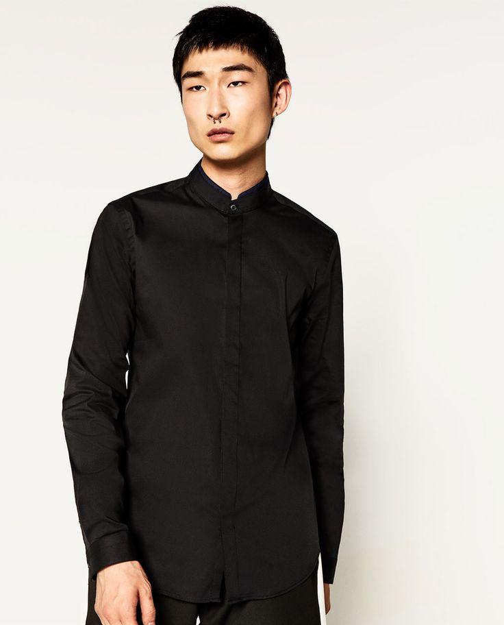 Camisa cuello mao negro