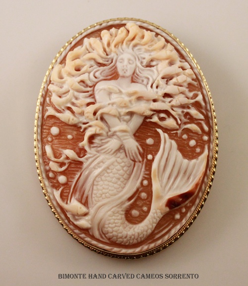 "La Sirena Cameo by ""Bimonte"" the oldest cameos  coral workshop in Sorrento, Italy."
