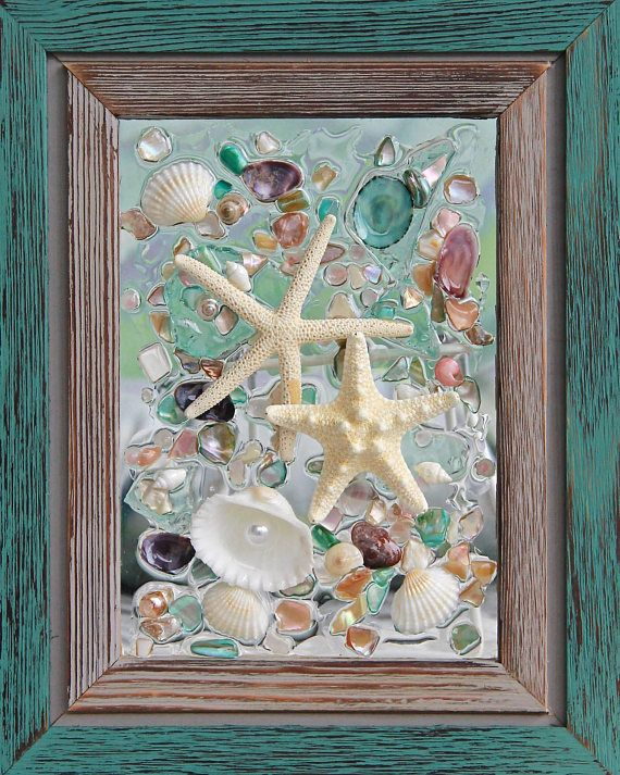 This is Beach Glass Art is a great wall hanging for any Nautical decor. This item is set in a rustic, teal green and grey, wooden frame that measures 9 3/4 x 7 3/4 frame. Each shell is bonded securely to the clear glass with resin with gives the look for icy water droplets/ water