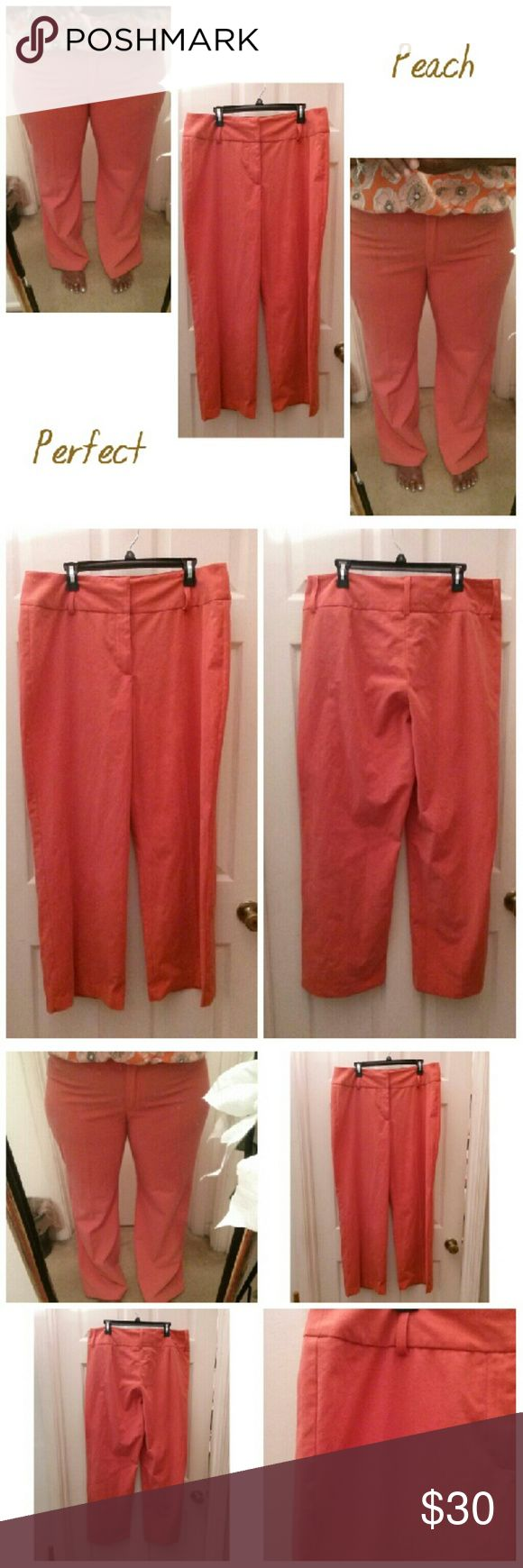 👖💞🍑 Perfect Peach Pants Perfect Peach Pants. Peach Coral colored. Size 16. High Waisted,  Boot Cut.  Polyester,  Rayon, Spandex material. Comes with the cutest belt. Add me to your Bundle with a Great Bundle Discount. D.F.A New York Pants Boot Cut & Flare