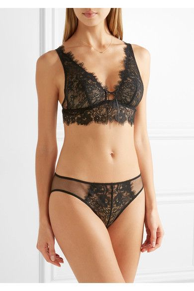 Black stretch-lace and mesh Fabric1: 62% nylon, 38% cotton; fabric2: 100% polyester Hand wash