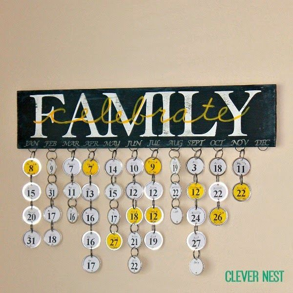 New take on a family birthday calendar using a Silhouette and paper key tags. This would be so special to give for Mother's Day or Christmas! #cameo #anniversary #chalkboardpaint #yellowgray #clevernest