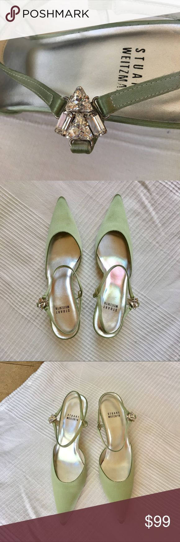 "Stuart Weitzman Satin Slingback Sandals NIOB ""TrianGlow"" Swarovski adorned Satin kitten heels from Stuart Weitzman. Pale green (celadon, celery color) neutral shade. Never worn. Come with original box which is kind of beat up 😬 but shoes are perfect. * Satin Upper with stunning Swarovski® ornamented post sling-back strap * Leather Sole * Approximate 2"" Covered Heel * Made in Spain. Like what you see? Make an offer using the button below. No trades please. Stuart Weitzman Shoes Heels"