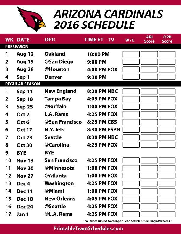 Arizona Cardinals Football Schedule. Print Schedule Here - http://printableteamschedules.com/NFL/arizonacardinalsschedule.php